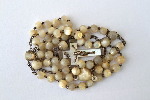 Beautiful Vintage French Mother of Pearl Rosary