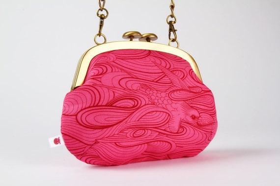 Mushroom purse - Swallow in sunset  - metal frame handbag with shoulder strap