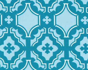 Mod Mosaic Tile Damask in Teal Blue by Annette Tatum for Free Spirit Fabrics - 1 yard