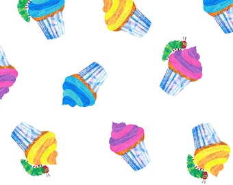 SALE The Very Hungry Caterpillar Happy Birthday Cupcakes Fabric by Eric Carle for Andover Fabrics - 1 yard