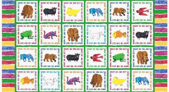 Brown Bear Brown Bear What Do You See Fabric Panel Squares