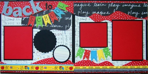 Back School Double Premade Finished Scrapbook Pages
