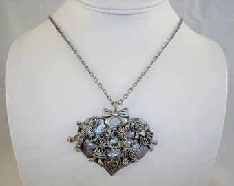 Vintage Signed Marcie USA Pewter Necklace Pendant