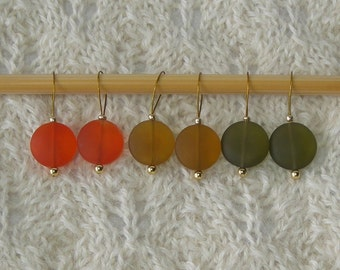 Sea Glass Knitting Stitch Markers - snag free - amber olive orange 15mm sea glass beach glass beads - set of 6 - two loop sizes available