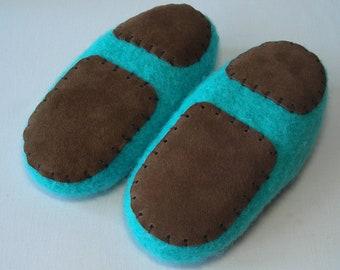 Slipper Soles - non-slip suede leather soles for children's slippers - knitting crochet felted slipper bottoms - 2 sizes