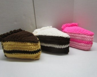 Amigurumi Crochet Yellow, Chocolate, or Strawberry Cake with Frosting Play Food