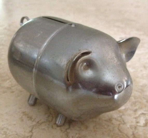 vintage metal piggy bank by piperriley on etsy