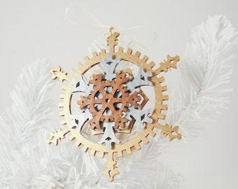 Classic 5-inch Steampunk Snowflake Gears Ornament
