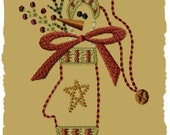 Snowman Mitten--5x7--Primitive Machine Embroidery Design--INSTANT DOWNLOAD