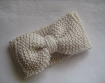 hand knit turban style headband ear warmer with BOW women or children one size