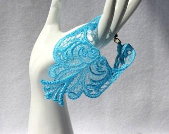 BRACELET - Wings - Aquamarine - Adult medium - Original Embroidery - 6 1/2