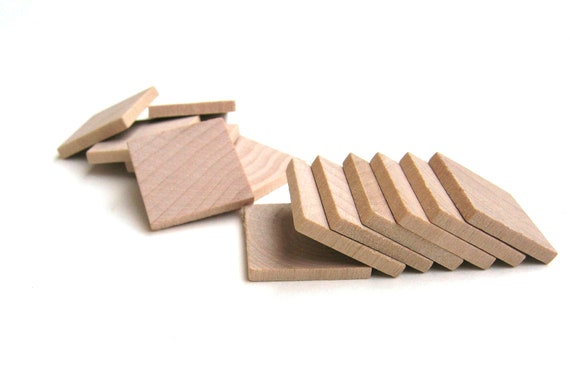 """75 - 1"""" Wooden Squares Small 25 mm Unfinished Wood Tiles for Crafting"""