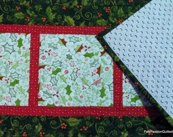Christmas Holly Quilted Table Runner Red Green White