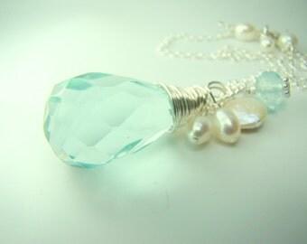 Aquamarine crystal necklace, gemstone pendant necklace, pale blue crystal necklace, pearl bridal jewelry... AQUAMARINE TEAR