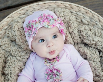 Take me Home  Shabby Roses Layette Gown & Rose Hat Set