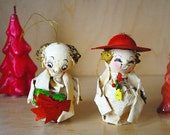 Paper Mache Christmas Ornaments - Cute Holiday Couple