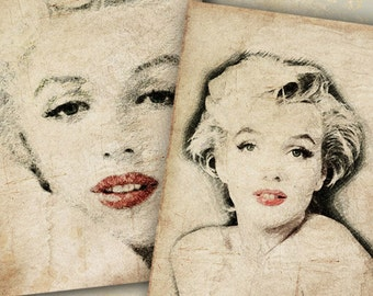 Printable Digital download MARILYN MONROE Two Sketches 4x6 inch images for home decor decoupage scrapbooking home decor Art Cult designs