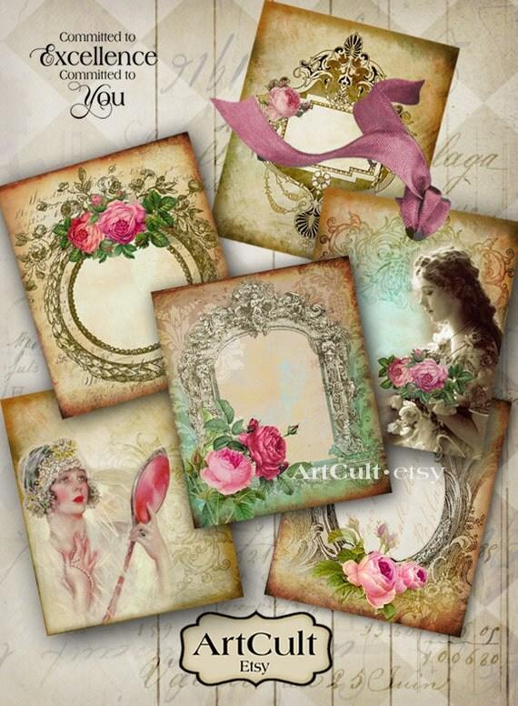 Digital Collage Sheet SHABBY VINTAGE LABELS Printable Download Ephemera Gift Tags Vintage Paper Craft hang tags ArtCult downloadable paper