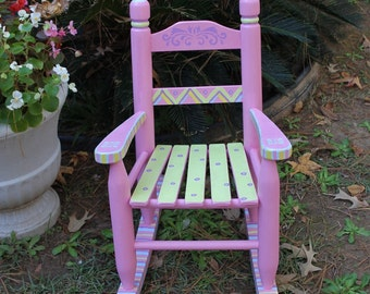 Hand Painted Rocking Chair Pastel Pink for Child