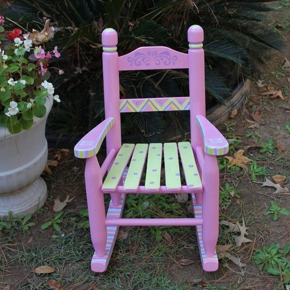 Hand Painted Rocking Chair Pastel Pink For Child By
