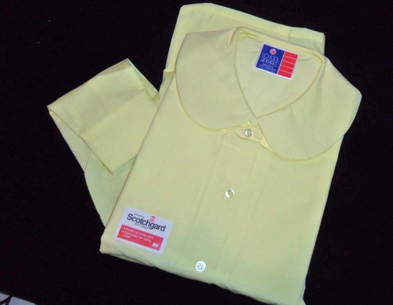 Vintage Peter Pan Collared Blouse Shirt Top YELLOW  size XL extra large Short Sleeve