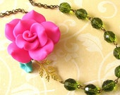 Statement Necklace Flower Necklace  Bridesmaid Jewelry Pink Necklace Green Jewelry Beadwork