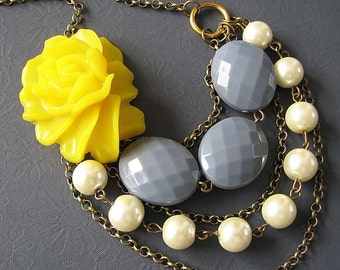 Multi Strand Necklace Statement Necklace Yellow Jewelry Flower Necklace Grey Necklace Gift For Her