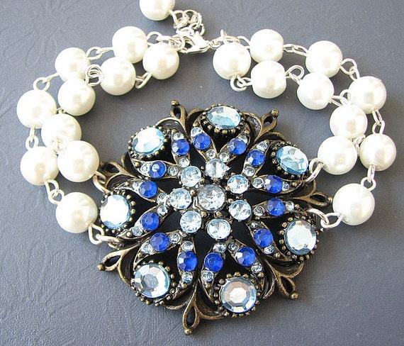 Blue Wedding Bracelet Bridal Jewelry Sapphire Bracelet Sapphire Jewelry Rhinestone Bridal Bracelet Bridesmaid Gift Wedding Jewelry
