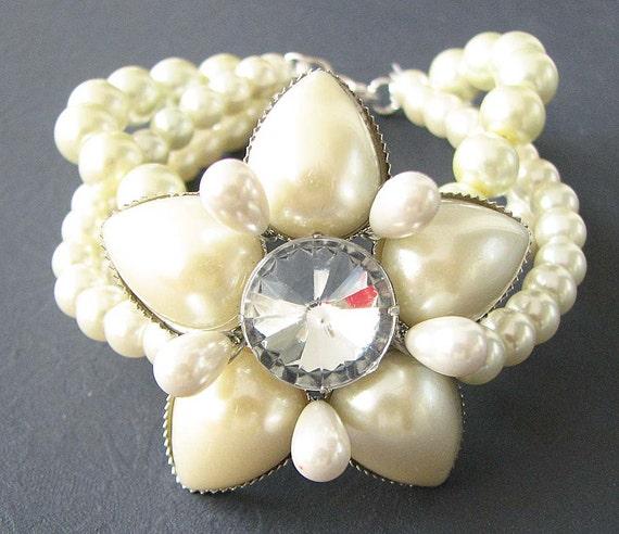 Bridal Flower Bracelet : Wedding bracelet bridal jewelry twisted pearl flower