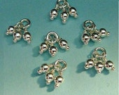 Sterling Silver Bead Tassel Charms Dangles - 2.5mm Beads, 2 pcs