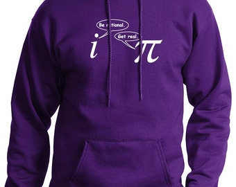 Be Rational Get Real Mens Funny Math Nerd HOODIE (Purple- White Ink) SMALL-XXL