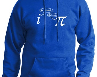 Be Rational Get Real Mens Funny Math Nerd HOODIE (Royal Blue- White Ink) SMALL-XXL