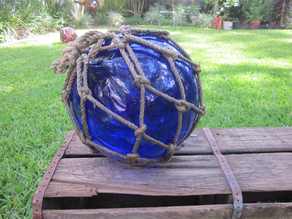 Large Cobalt Glass Fishing Bouey or Float with Rope Netting