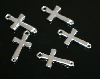 20 pcs - Silver Sideways Cross connector, pendant, link, charm - Lead free - Nickel free
