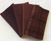 "Hand Dyed Wool Felt, CHOCOLATE, Four 6.5"""" x 16"" pieces in Deep Cocoa Brown"