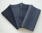 "Hand Dyed Wool Felt, CHARCOAL, Four 6.5"" x 16"" pieces in Dark Gray, Perfect for Rug Hooking, Applique and Crafts"