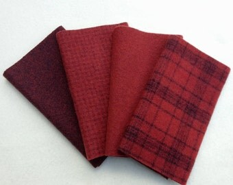 "Hand Dyed Wool Felt, BRICK, Four 6.5"" x 16"" pieces in Rich, Rusty Reds"