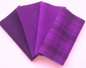 """Hand Dyed Wool Felt, AMETHYST, Four 6.5"""" x 16"""" pieces in Potent Purple, Perfect for Rug Hooking, Applique and Crafts"""