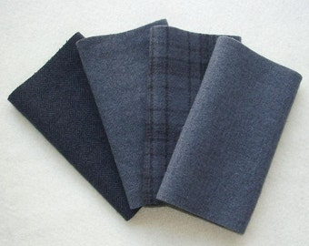 """Hand Dyed Wool Felt, CHARCOAL, Four 6.5"""" x 16"""" pieces in Dark Gray, Perfect for Rug Hooking, Applique and Crafts"""