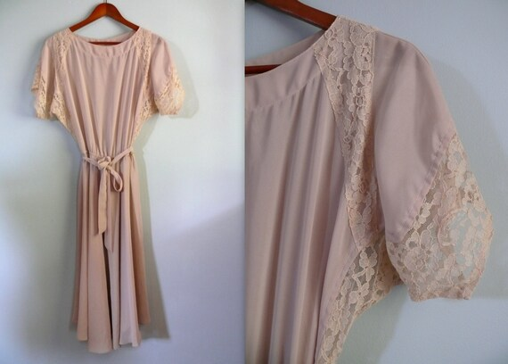 vintage 1970s Dress  // blush sheer lace dress. dolman sleeve. blouson