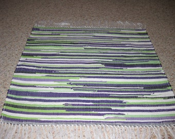 Handwoven Lime Green, White, Purple Rag Rug 25 x 30