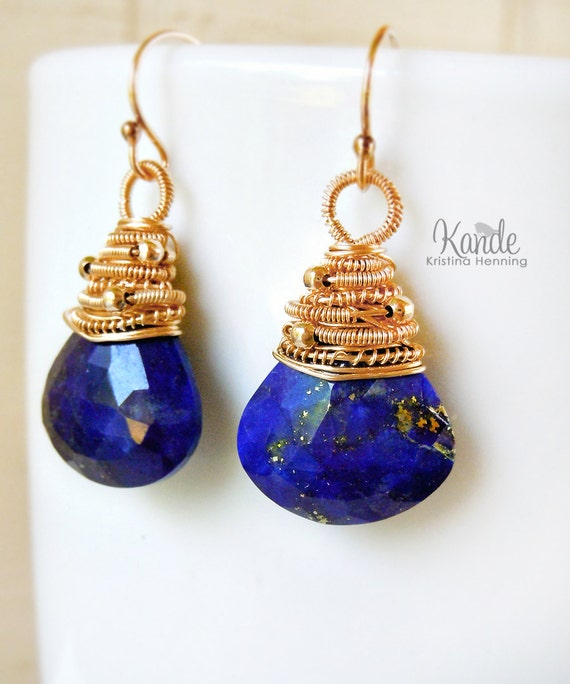 Sale Royal Blue Lapis Earrings, Gemstone, Jewelry, Wire Wrap, Gold, 14k, 14kt, Fashion, Kande, Fall