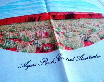 Vintage Hanky, Souvenir Handkerchief Ayers Rock, Central Australia, Uluru Hankie, Vintage Linens, Hanky