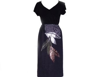 80s Denim Skirt Vintage Patti Van Ryn Rembrandts Applique Skirt 30 Inch Waist