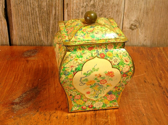 Vintage Oriental Style Floral Tin Canister