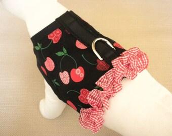 Black Cherry Ruffle Dog Harness Vest