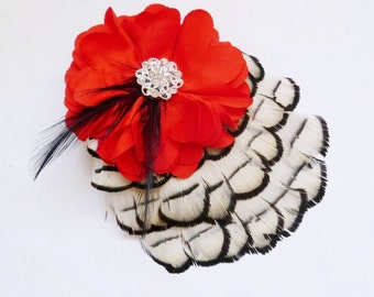 Wedding Accessory Bridesmaids Feather Hair clip - Red White and Black Flower Fascinator - Christmas Holiday Hairpiece