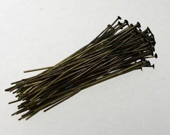 100 Antique Brass FLAT headpins Bronze Flat Head Pins T Pins - 2 inch (50mm) 22Gauge 22G - from California USA