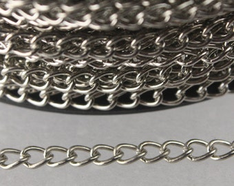 32 feet of Rhodium Plated curb chain Large Big Link Curb Chain - 4.9x3.7mm unsoldered link - Ship From California USA