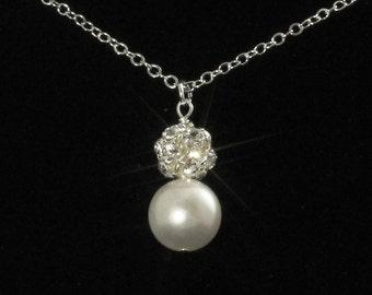 Pearl Rhinestone Necklace Silver Swarovski Crystal Wedding Bridal Necklace Bridesmaids Jewelry White Ivory Custom Colors Pearl -- VERA